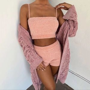 Other - Knitted Crop Top And Shorts Lounge Set Pink S